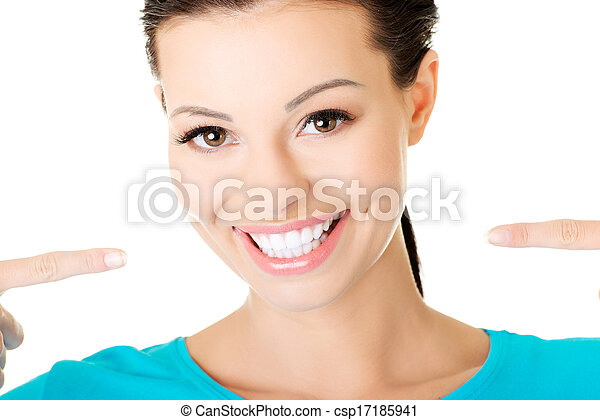 beautiful casual woman showing her perfect white teeth. - csp17185941