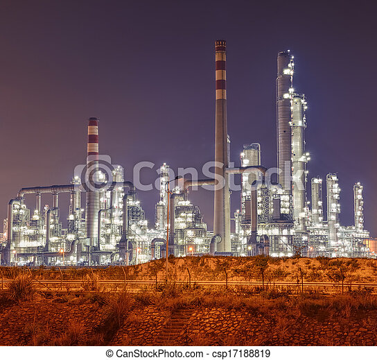 Refinery industrial plant with Industry boiler at night - csp17188819