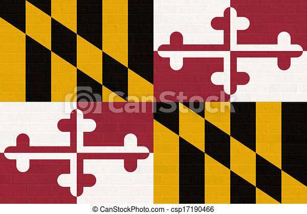 Maryland state flag on brick wall - csp17190466