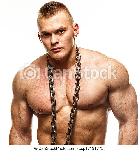 muscular, hombre, joven, cadena, guapo - csp17191775