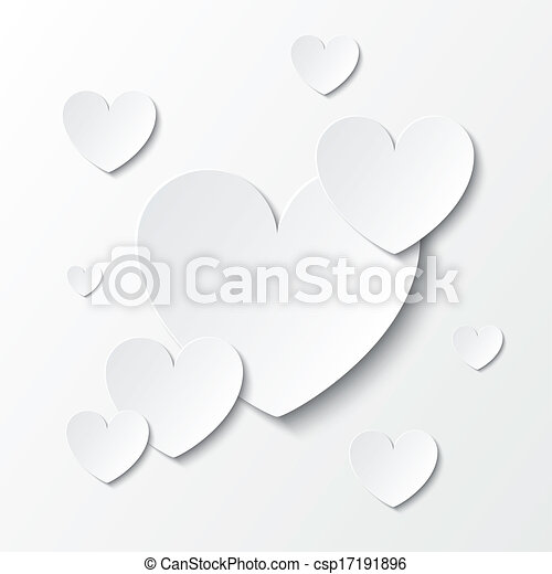 Paper hearts Valentines day card on white. - csp17191896