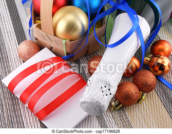 holiday concept: champagne and balls as a New Year decoration