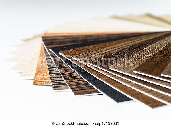 Thin wooden samples sheaf interior design industry