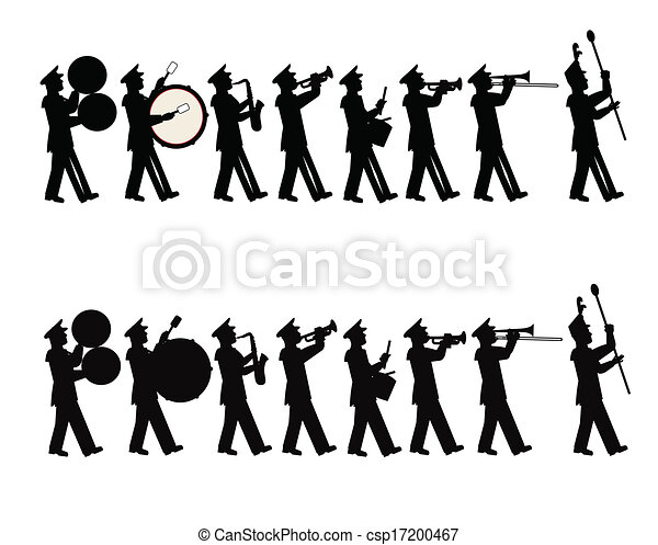 Clip Art Vector Of Parade Band Band Marching In Parade