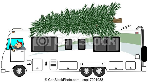 stock illustration of rv delivering a christmas tree mobile home clipart mobile home clipart images