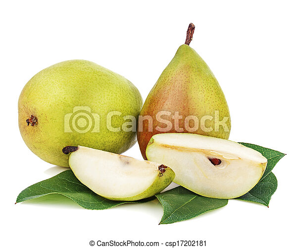 Ripe pear with cut and green leaves isolated on white background. Closeup. - csp17202181
