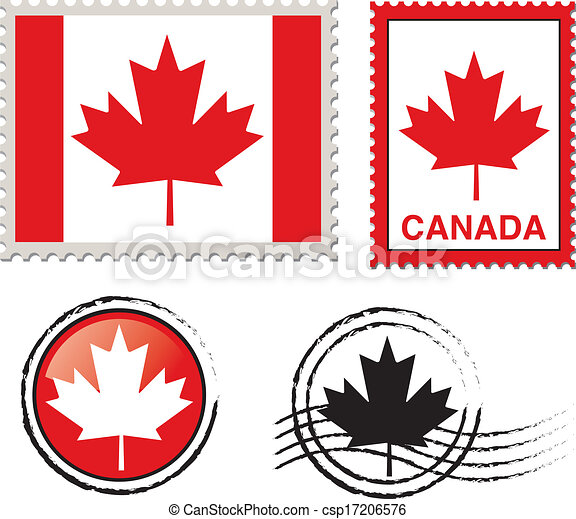 Vectors Illustration of canada flag stamp csp17206576 - Search ...