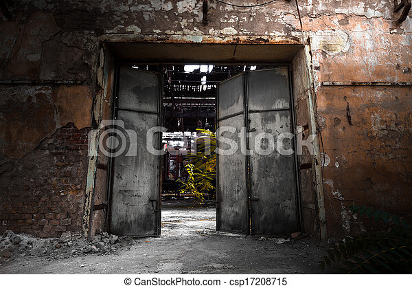 iron gate in an industrial building - csp17208715