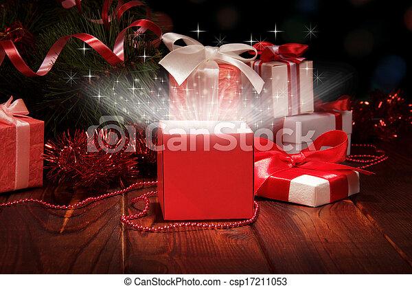 Christmas box and Christmas tinsel