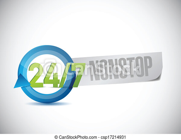 24 7 nonstop sign illustration design - csp17214931