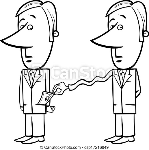 EPS Vector of businessman and taxes cartoon - Black and ...