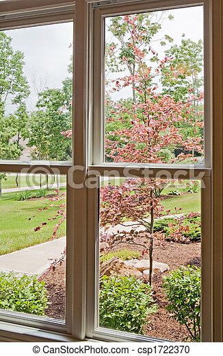 Window View of Front Yard - csp1722370