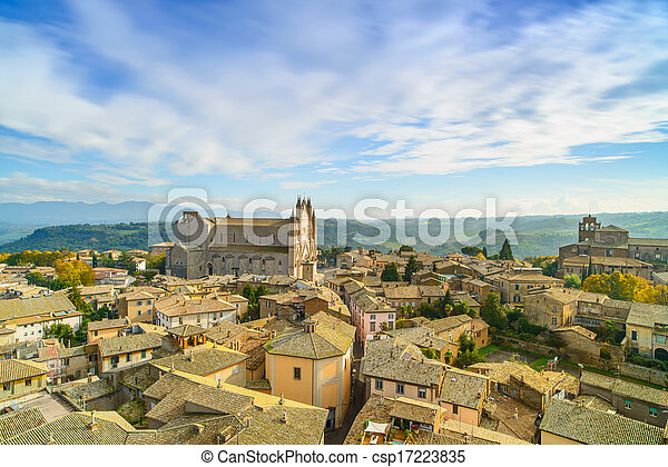 Orvieto medieval town and Duomo cathedral church landmark panoramic aerial view. Umbria, Italy, Europe. - csp17223835