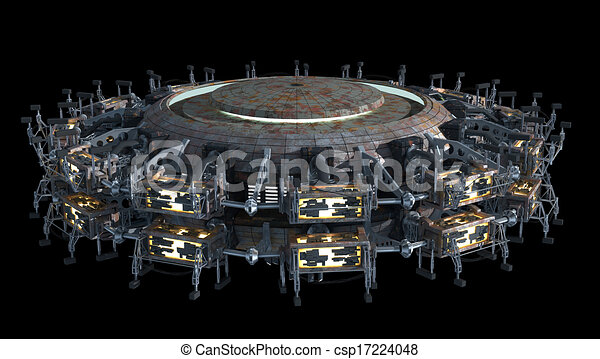 Drawing of Science fiction spaceship - Fantasy 3D model of ...