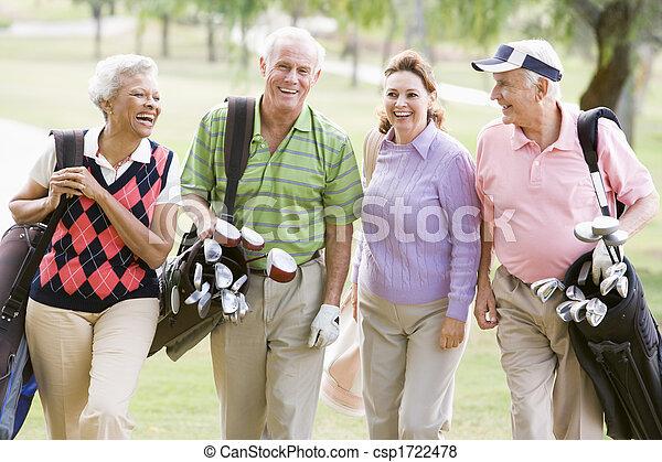 Portrait Of Four Friends Enjoying A Game Golf - csp1722478