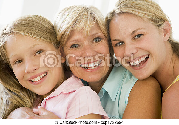 Grandmother with adult daughter and granddaughter - csp1722694