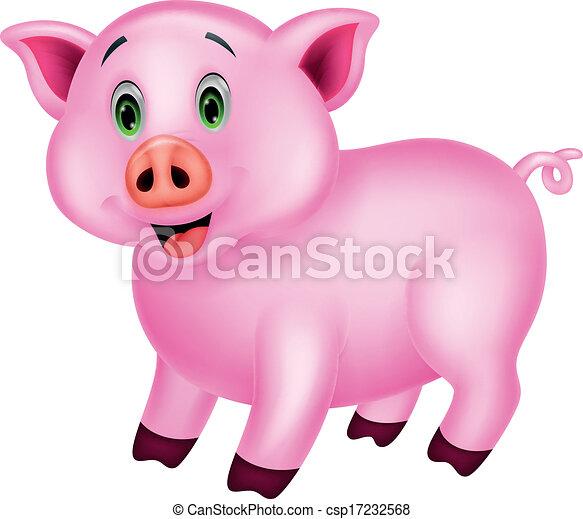 Clip art vecteur de mignon dessin anim cochon vecteur - Dessin cochon mignon ...