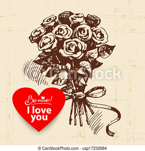 Valentine's Day vintage background. Hand drawn illustration with heart form banner.