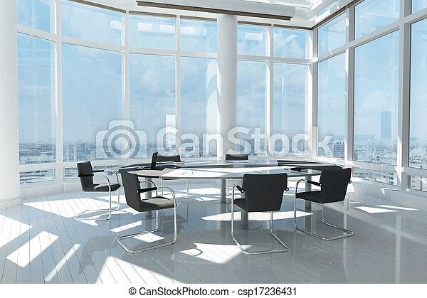 janelas, muitos, modernos, escritório - csp17236431