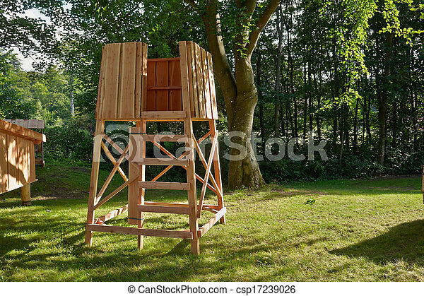Stock Photo of Hunters box shooting stand in the forest ...