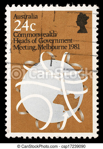 A stamp printed in Australia shows Commonwealth Heads of Government Meeting, Melbourne 1981 - csp17239090