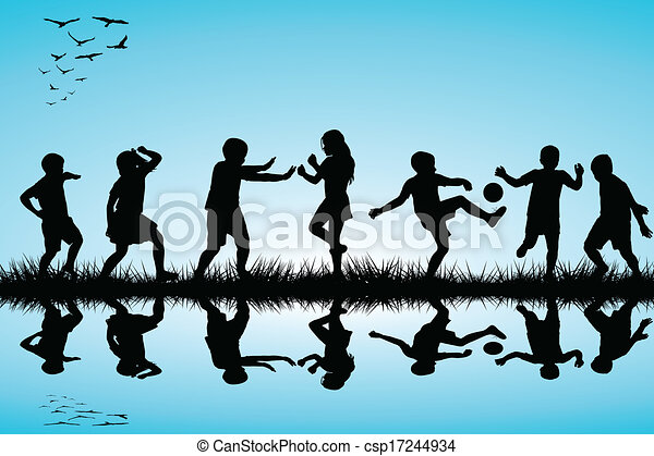 Group of children silhouettes playing outdoor near a lake - csp17244934