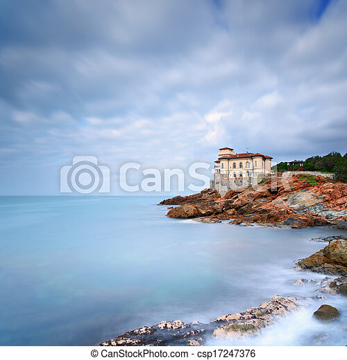 Boccale castle landmark on cliff rock and sea in winter. Tuscany, Italy, Europe - csp17247376