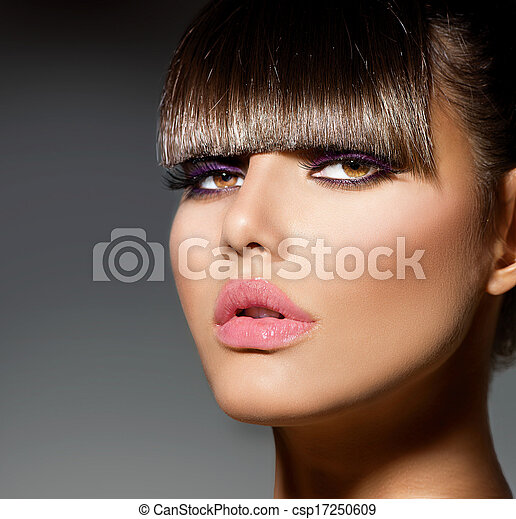 Fringe. Fashion Model Girl With Trendy Hairstyle and Makeup - csp17250609