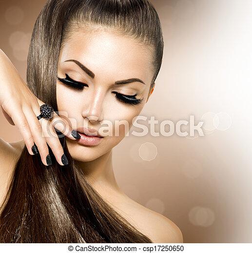 marrón, Moda, belleza, sano, largo, pelo, modelo, niña - csp17250650