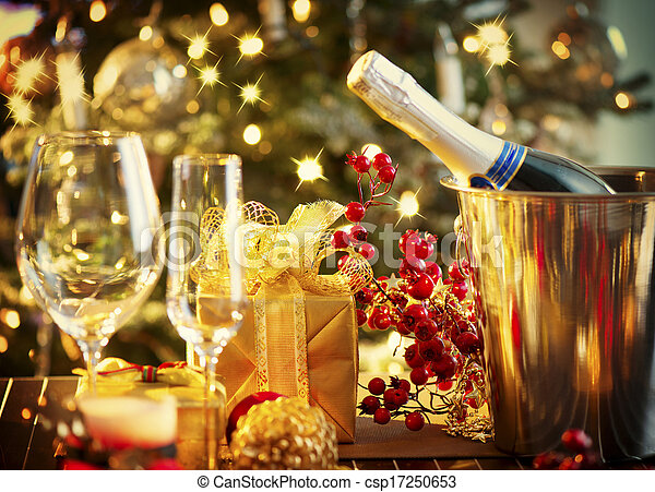 Christmas And New Year Holiday Table Setting. Celebration - csp17250653