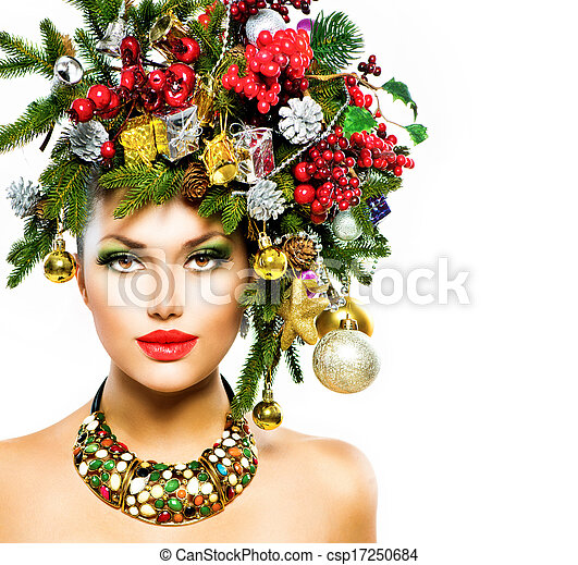 Christmas Woman. Christmas Holiday Hairstyle and Makeup - csp17250684