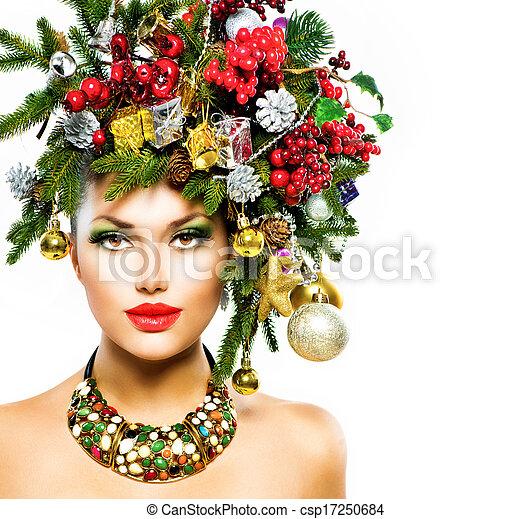 Christmas Woman. Christmas Holiday Hairstyle and Makeup - csp17250684