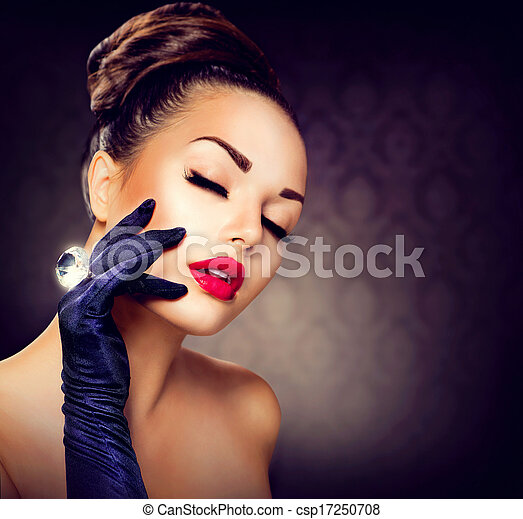 Stock Photography Of Beauty Fashion Glamour Girl Portrait Vintage Style Girl Csp17250708