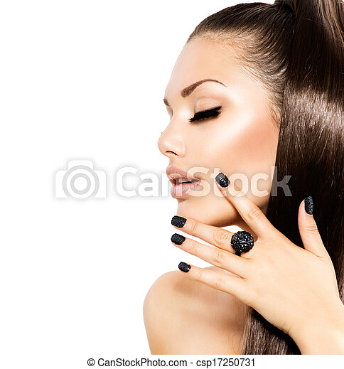 Beauty Fashion Model Girl with Long Healthy Brown Hair - csp17250731