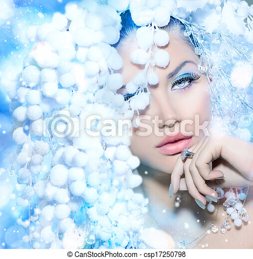 Winter Beauty. Beautiful Fashion Model Girl with Snow Hair style - csp17250798