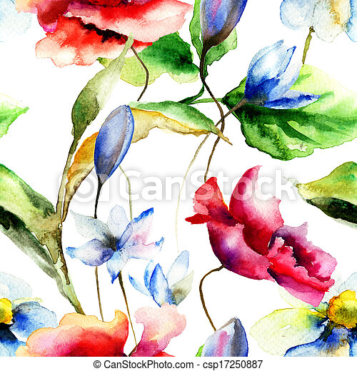 Watercolor illustration with flowers - csp17250887