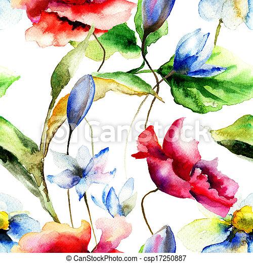 vattenfärg, Blomstrar,  Illustration - csp17250887