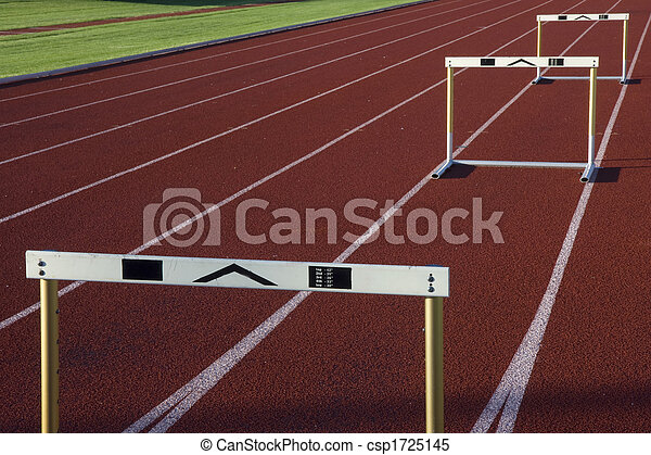 running tracks with three hurdles - csp1725145