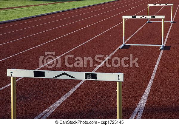 running tracks with three hurdles - csp1725145