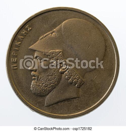 Pericles, antiguo, griego, líder, estadista, 20, dracmas, moneda, (1984), aislado, blanco - csp1725182