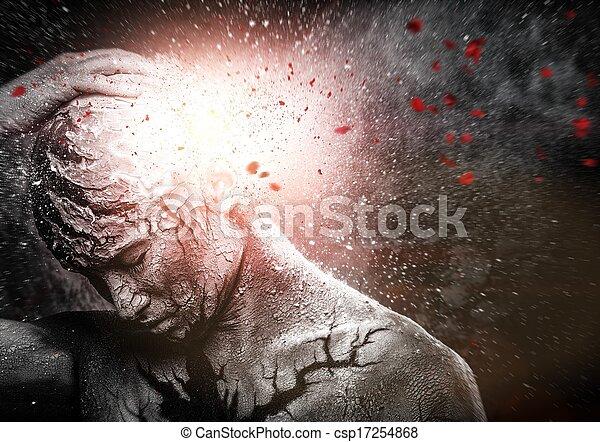 Man with conceptual spiritual body art - csp17254868