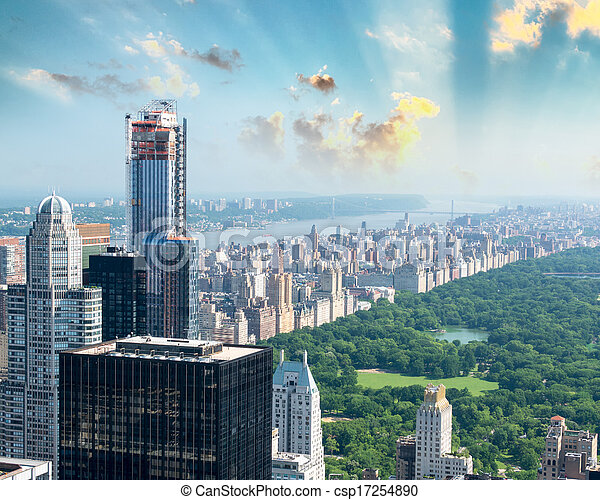 Dusk over Central Park in New York. Magnificent aerial view  - csp17254890