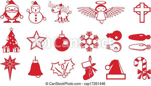 EPS Vector of Simple Christmas components vector, Santa, snowman ...