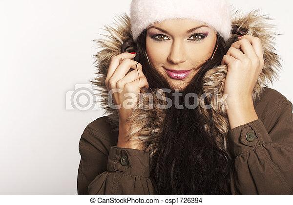 menina, Inverno - csp1726394