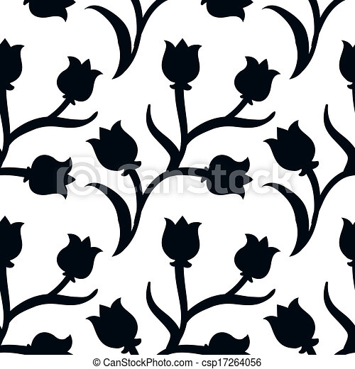 Ditsy floral pattern with black tulips on white - csp17264056
