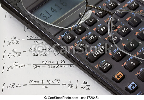 scientific calculator, reading glasses, math book background - csp1726454