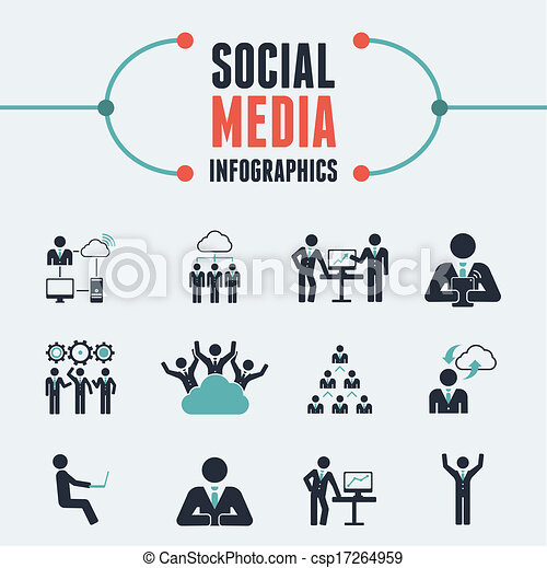 Clipart Vector of Social Media Infographic Template. - Flat Social ...