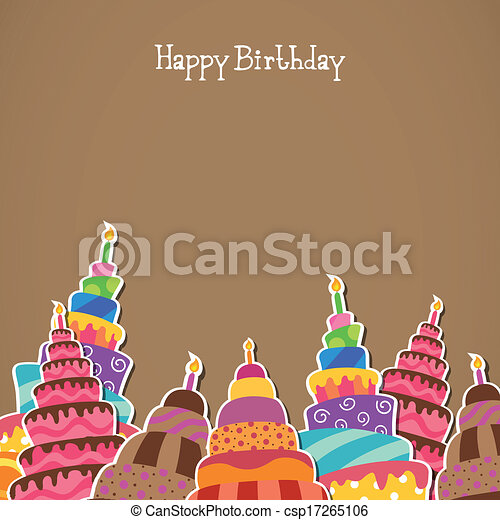 Vector Happy Birthday Greeting Card - csp17265106