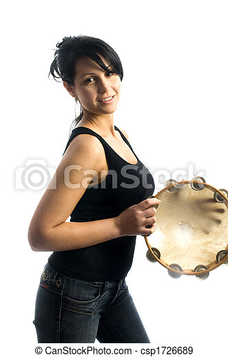 sexy woman playing tambourine - csp1726689