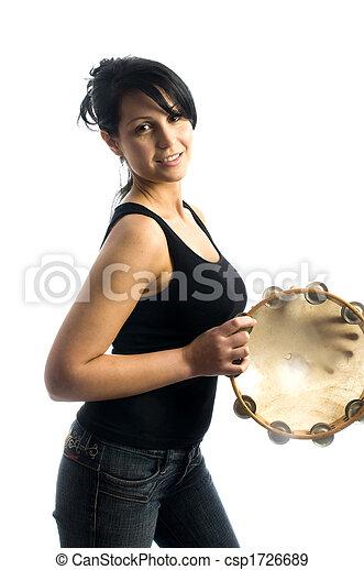 sexy woman playing tambourine - csp1726689